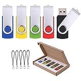 Vellgo 5 x 8GB Swivel USB Flash Drive Memory Stick for Data Storage USB Thumb Pen Drive (5pack USB Stick(8GB, Multicolored)