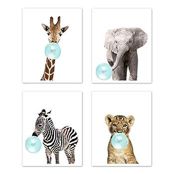 Sweet Jojo Designs Safari Jungle Animal Wall Art Prints Room Decor for Baby Nursery and Kids - Set of 4 - Elephant Giraffe Lion Zebra Blue Bubble Gum