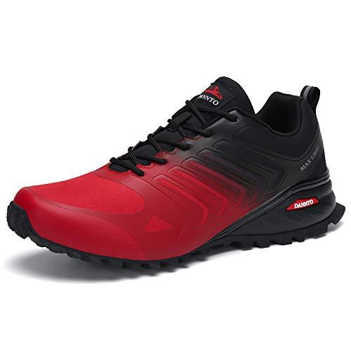 Dannto Uomo Scarpe da Ginnastica Sportive Scarpe per Running Indoor e Outdoor Trail Trekking Fitness Sneaker Casual (Rosso-B,47)