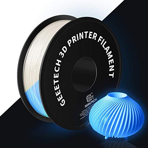 GEEETECH Filamento PLA de 1,75 mm para impresora 3D, brilla en la oscuridad, bobina de 1 kg, azul, 1