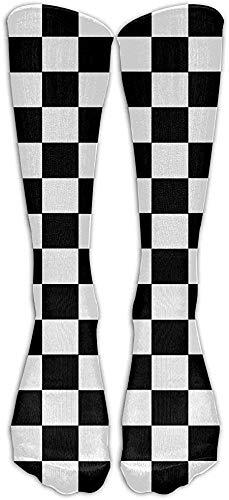 remmber me Schachbrett kniehohe lange Socken Athletic Sports Tube Strümpfe zum Laufen Fußball Fußball 50cm
