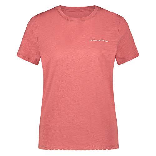 Damen Kurzarm Pyjama T-Shirt mit rundem Halsausschnitt Rose M