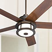 """60"""" Casa Largo Modern Outdoor Ceiling Fan with Light LED Oil Brushed Bronze Dark Walnut Blades Frosted White Glass Damp Rated for Patio Porch - Casa Vieja"""