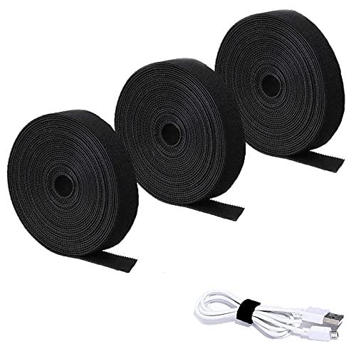 3 Rollos de Sujetacables Eléctricos,Correas de Cable Reutilizables de Nailon,Cinta para Cables Corte Libre,para Cables de Gestión de Cables,Fijar,Apretar Cables,10mm X 3m