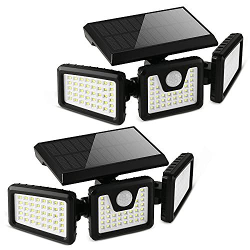 Otdair Solar Security Lights, 3 Head Motion Sensor Lights Adjustable 118LED Flood Lights Outdoor Spotlights 360° Rotatable IP65 Waterproof for Porch Garden Patio Yard Garage Pathway, 2 Pack