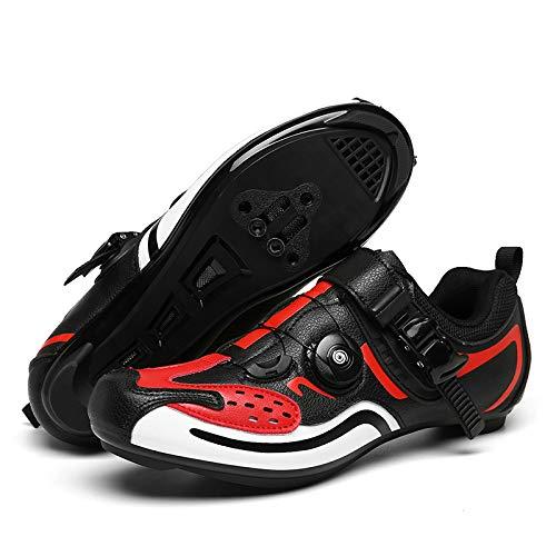 WYUKN Zapatillas De Ciclismo para Hombre, Cordones De Zapatos Giratorios con Tacos Compatibles Peloton con SPD Y Delta,C-41EU=(255mm)/7UK/8US