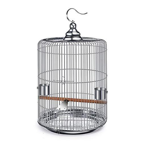 SSG Home Suministros Jaula de pájaro de Interior y Exterior Ornamental Nido de Aves de Acero Inoxidable Ronda Creativa decoración Jaula for Mascotas (Color : 33cm High)