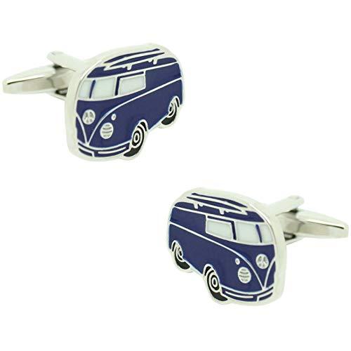 MasGemelos - Manschettenknöpfe für VW Van, Blau, flach, Cufflinks
