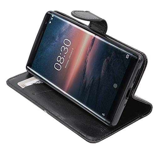 ebestStar - kompatibel mit Nokia 8 Sirocco Hülle Kunstleder Wallet Hülle Handyhülle [PU Leder], Kartenfächern, Standfunktion, Schwarz [Phone: 140.9 x 73 x 7.5mm, 5.5'']
