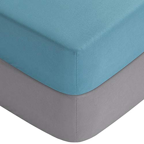Yoofoss Fitted Crib Sheet Set, 2 Pack Baby Sheets for Standard Crib and Toddler Mattresses, 28 x 52x 8In, Solid Color, Soft, Hypoallergenic(Blue+Gray)