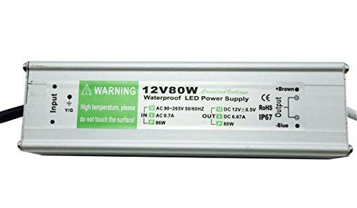 YXH® Transformador 80W LED Tira Módulo luces Conductor 12v Fuente de alimentación iluminación exterior impermeable Ac 90-265v iluminación transformador