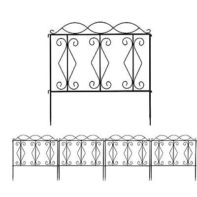 Yizhen-G Garden Fence 24in x 24in Decorative Garden 4 Panels Rustproof Black Iron Border Fence Edging Metal Wire Fencing Animal Barrier for Outdoor Patio Vinyl Flower Bed Vegetable Folding