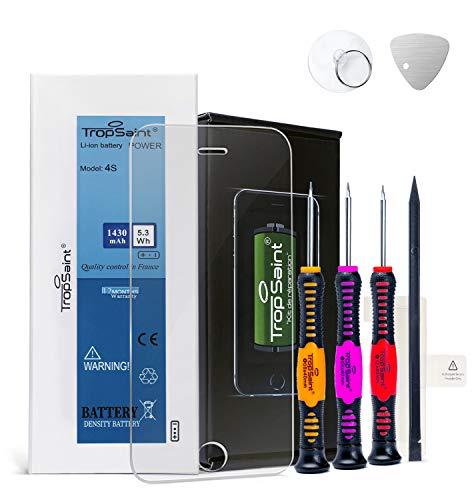 Trop Saint® Batteria compatibile con iPhone 4S (1430mAh, 3.8V) - Ricambio Completo di Alta Qualita con Adesivi, Attrezzi e Pellicola Protettiva in Vetro Temprato