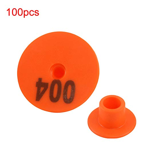 Pengyu-100 Etiquetas de Oreja de Animal con Forma Redonda Universal para Oveja de Cabra, Orejeras de Animales, Etiquetas