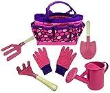 Kit de jardinería para niños, incluye regadera, guantes de jardinería, pala, rastrillo, herramientas de aprendizaje de pala, todo en uno