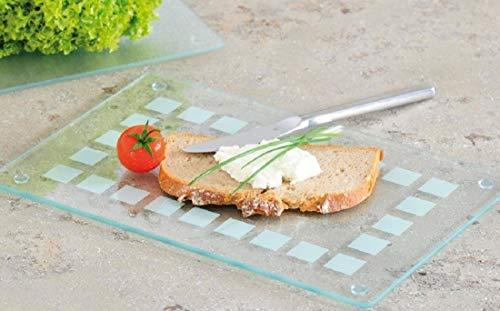 Glas Schneideplatte mit satiniertem Muster, Küchen Schneidebrett, in 2 Größen, Servierbrett (1x Mittel 30x20cm)
