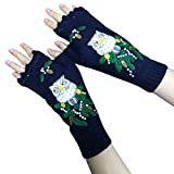 haninetrosty Women Winter Knitted Lengthen Wrist Fingerless Gloves Elegant Colorful Animal Embroidery Crochet Thumbhole Mittens Stretchy Arm Warmers