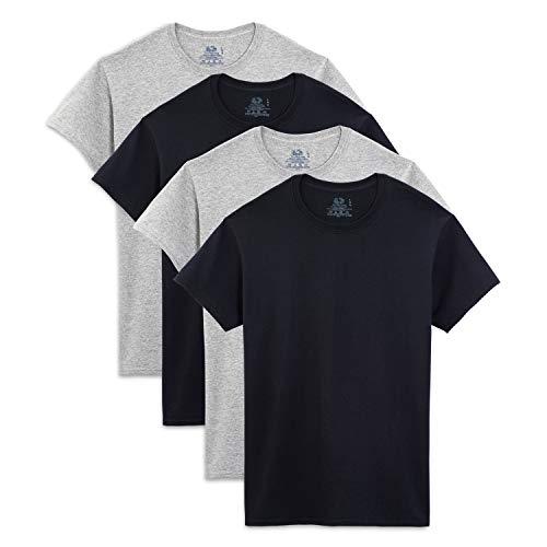 Fruit of the Loom Men's Crew Neck T-Shirt (Pack of 4), Black/Gray, XX-Large