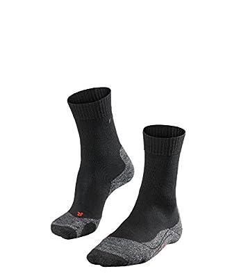 FALKE Mens TK2 Hiking Socks - Merino Wool Blend, Black (Black-Mix 3010), US 14-15 (EU 49-50 ? UK 13-14), 1 Pair