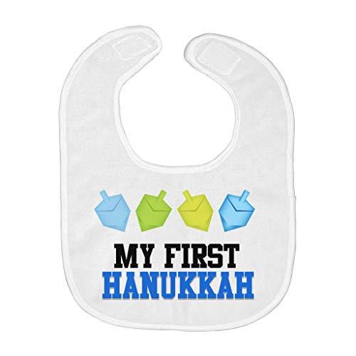 My First Hanukkah Baby Bib Dancing Dreidels Blue and Yellow