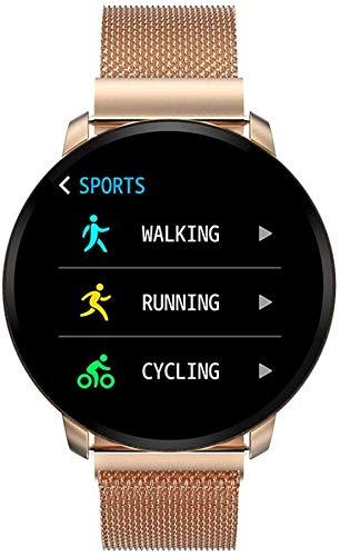 Naack Smartwatch, smartwatch, waterdicht IP68, activiteitenarmband, hartslagmeter, slaapbewaking, sport, stopwatch, calorieënteller, voor dames, goudkleurig iOS en Android