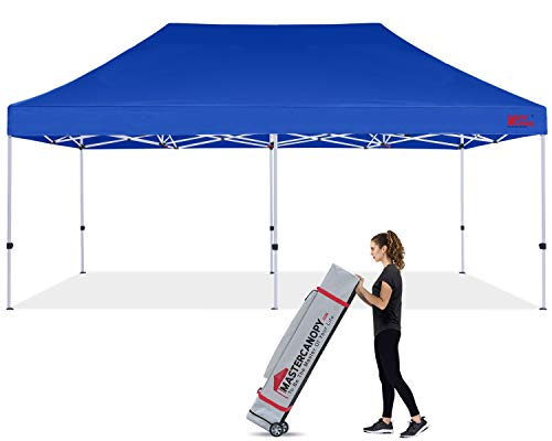 MASTERCANOPY Pop Up Canopy Tent Commercial Grade 10x20 Instant Shelter with Heavy Duty Roller Bag (10'x20',Blue)