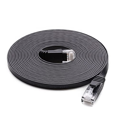 Cat 6 Ethernet Cable (at a Cat5e Price but Higher Bandwidth) Flat Internet Network Cable - Cat6 Ethernet Patch Cable Short - Black Computer LAN Cable + Free Cable Clips and Straps (25ft)