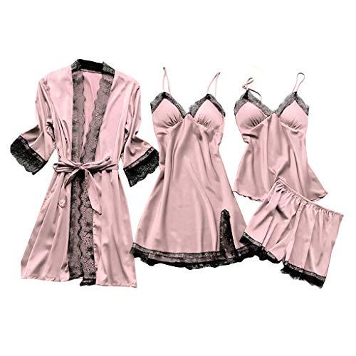 TaFoyu Femmes Ensemble de Pyjama Satin Vêtement 4 Pièces de Nuit Couleur Unie Dentelle Ensemble Col en V Cami Peignoir Homewear Rose S
