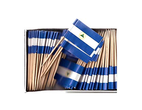 One Box of 100 Country Toothpick Flags, 100 Small Mini International Flag Cupcake Toothpicks or Cocktail Picks (Nicaragua)