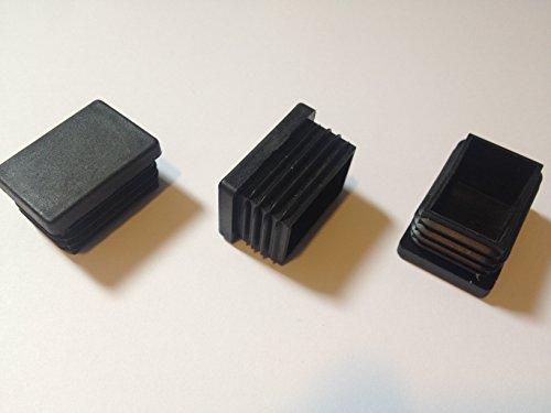( 10 Stück ) 40x30 mm (Aussen, WS: 1 - 2) Rohrstopfen / Stuhlstopfen / Gleiter / Kappe / Lamellenstopfen / SCHWARZ