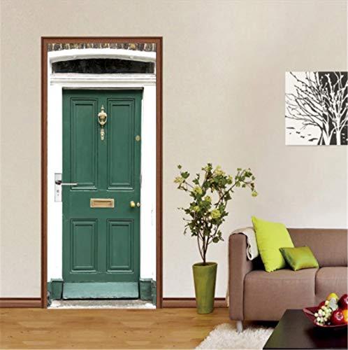 YPXXPY Pegatinas de Puerta para Puertas Interiores 3D Puerta Verde Vintage Pegatinas de Pared Autoadhesivas para decoración del hogar 77 * 200Cm