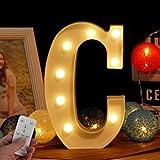WHATOOK Letras Luminosas Decorativas con Luces LED, Letra A-Z con Mando a Distancia Regulable, Color Blanco - Letra C