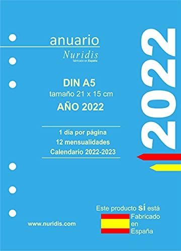 Recambio de agenda español. Año 2022. 1 día por página. DIN A5 (21 x 15 cm)