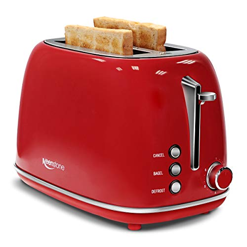 Keenstone Retro 2 Slice Toaster Stainless Steel Toaster with Bagel, Cancel, Defrost Fuction and Extra Wide Slots Toasters, 6 Shade Settings,Removable Crumb Tray, Red