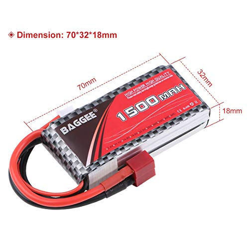 2PCS 2S 1500mAh LiPo Battery 7.4v 25C Rechargeable RC Battery Pack with T Plug for RC Cars Boats Truck Helicopter Drone Hobby