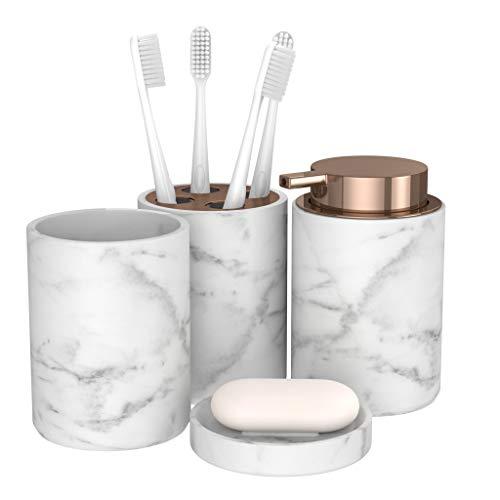 BonVivo Marmora Badezimmer Set, luxuriöses Badezimmer Zubehör, stilvolles Bad Set oder WC Set, Edles Bad Zubehör und Seifenspender in Marmor-Optik