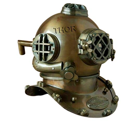 THORINSTRUMENTS (with device) Antique Brass Diving Divers Helmet Steel Vintage Mark V 18'