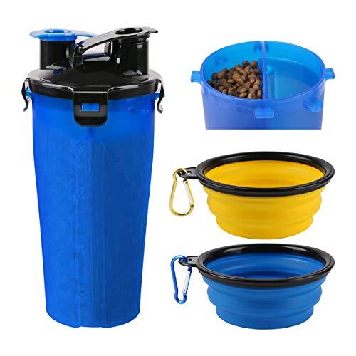 RCruning-EU Botella de Agua para Perros Portatil Envase de Comida para Perros Un Conjunto de 2 Plegable Tazones para Perros Gatos Mascotas Adecuado para al Aire Libre, Caminar, Viajar