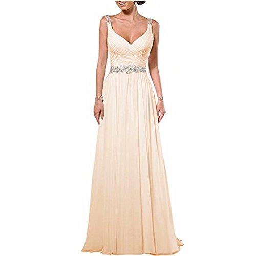 DingDingMail Women's Beach Wedding Dresses 2020 Chiffon Wedding Gown V Neck Wedding Party Dress Champagne