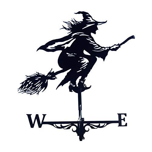 Gazechimp Metal Black Witch Shape Weathervane Weather Vane Farm Barn Stake 75cm Tall