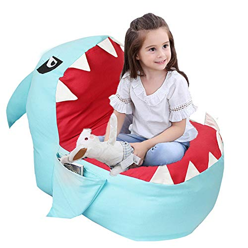 Lmeison Animal Storage Bean Bag Chair Cover, Beanbag Chair for Boys Girls, Soft Canvas Plush Toy Organizer, Towels & Clothes Stuffed Storage Bag, 31.5' Large (No Stuffing) (Blue Shark)