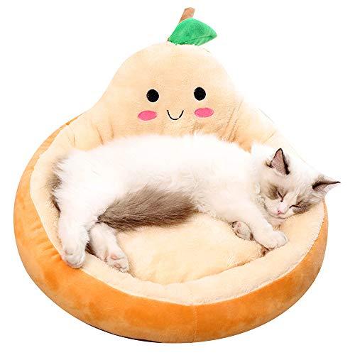 PET SPPTIES Cama para Mascotas, Suave Redondo Gato Dormido Cama Pequeña Perro Cama PS080 (S, Orange)