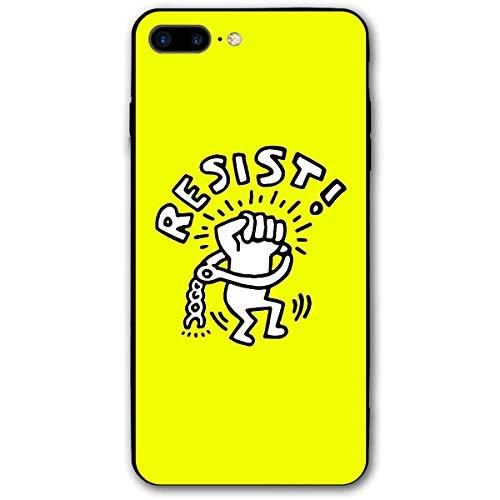 HNJZ-GS Custodia per iPhone 8 Plus Keith Haring Resist, Custodia per iPhone 7 Plus 2016 / iPhone 8 Plus 2017 Versione Unisex