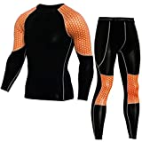 New Fitness Tight Sport Suit Men Long Sleeve Shirt +Pant Men's Running Set Orange M