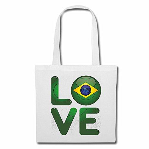 Tasche Umhängetasche I Love Brasil ICH Liebe BRASILIEN BRASILIANER Fussball Weltmeisterschaft BRASILIANERIN Einkaufstasche Schulbeutel Turnbeutel in Weiß