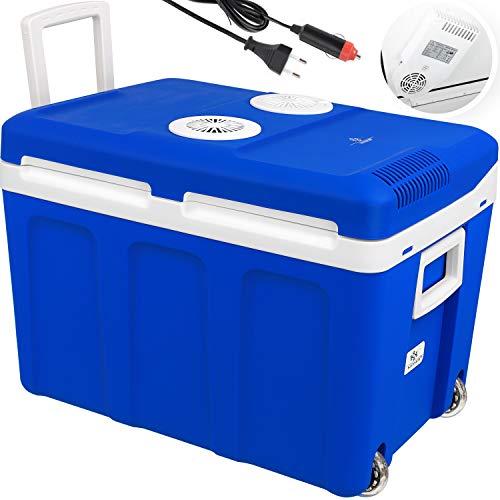 KESSER® 40L Kühlbox mit Rollen | zum Warmhalten und Kühlen | Thermo-Elektrische Kühlbox | 12 Volt und 230 Volt| Mini-Kühlschrank | Thermobox für Auto| Boot und Camping | EEK A++ mit ECO Modus Blau