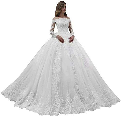 Fankeshi Damen Langarm A Linie Brautkleid Weiß Elfenbein Schulterfrei Spitze Brautkleider - Weiß - 46
