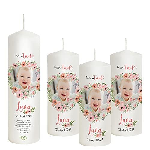 Liamoria® Vela de bautizo con foto para niña, color rosa antiguo, 27 x 8 cm, modelo Luna, maravillosas velas de bautizo para niñas, personalizando ahora tu vela de bautizo (con 3 velas de padrino)
