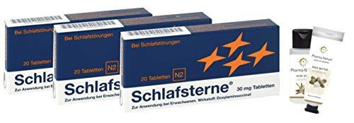 Schlafsterne 3 x 20 Tabletten Sparset inkl. einer pflegenden Handcreme o. Duschbad von Pharma Nature