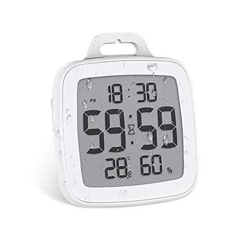 Number-one Shower Clock Digital Bathroom Countdown Clock Battery Operated Kitchen Wall Timer Clock, Waterproof for Water Spray, Large LCD Screen, Temperature Humidity Display for Shower Cooking, White